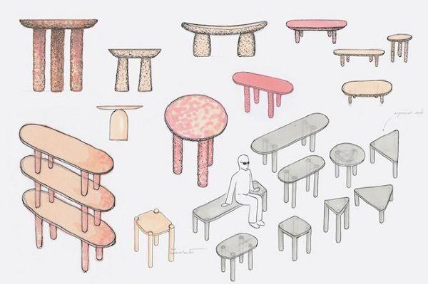 Piedra Rosa la table sculptée par Pablo Figuera et Álvaro Goula
