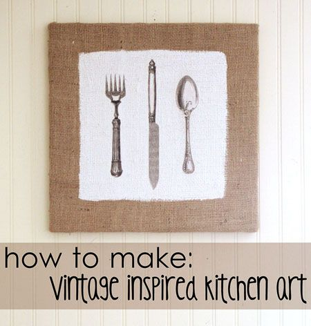 Diy Kitchen Art Great Tutorial For Making Some Fun Burlap Art For A Kitchen