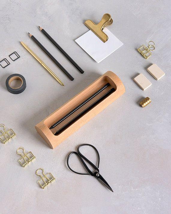 Desk Pen Holder Modern desk accessories Wood Desk organiser