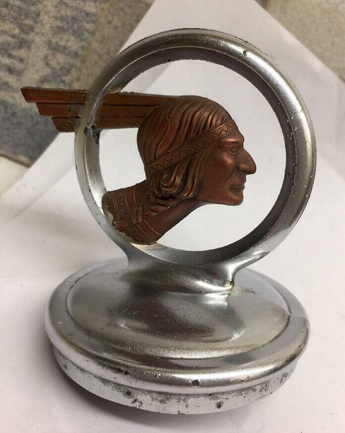 "Vintage Hood Ornament 1932 PONTIAC INDIAN CHIEF"" RARE ""Americana Mascot Art Deco"
