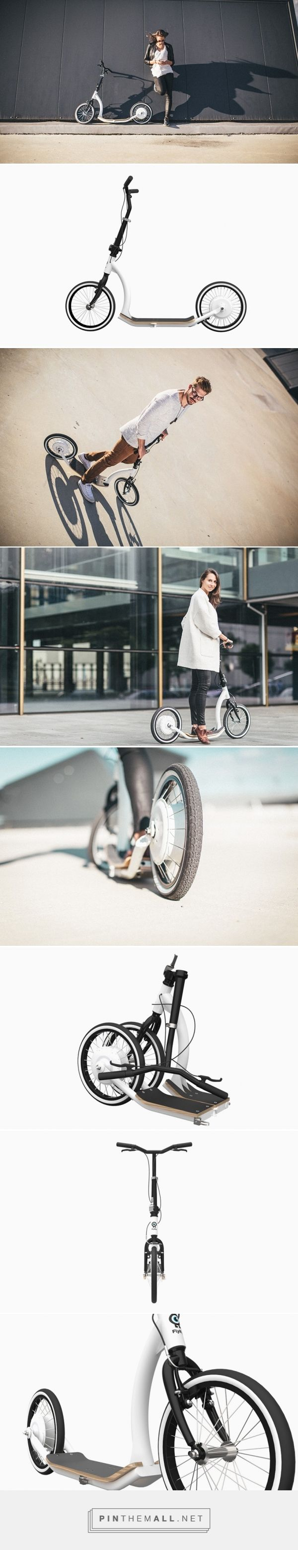 smart ped scooter designed by flykly adds electric assist system to go farther - created via http://pinthemall.net