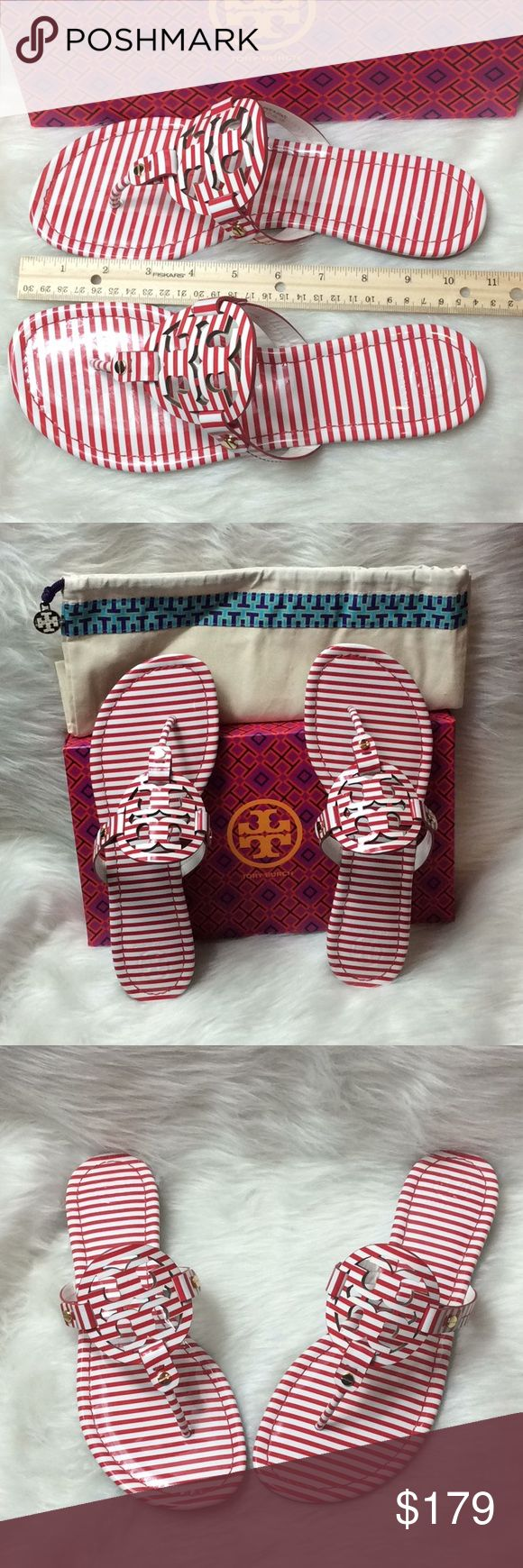 Tory Burch Miller Nautical Sandals Miller Size 10 nautical stripes.  Nantucket red and white.   Smoke free home.   Includes box and dust bag Tory Burch Shoes Flats & Loafers