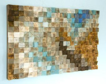 """Parete in legno arte mosaico, ufficio decorazione della parete, arte geometrica, 24 """"x 36"""" """"il fiume di lotta"""""""