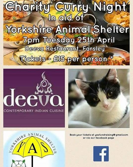 Tickets still available for our fundraising curry night at Deeva on April 25th!  Don't miss out email yasfundraising@gmail.com and we'll organise payment :-) Tickets cost 15 per person and includes a full buffet meal   #deevarestaurant #farsley #leeds #fundraisingevent #animalshelter #charity #cat #adoptdontshop #yorkshire #yorkshireanimalshelter