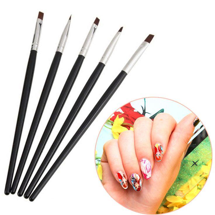 5PCS/ Set Color Painting Drawing Nail Art Acrylic UV Gel Salon Pen Flat Brush Kit Dotting Tool for professional and home use