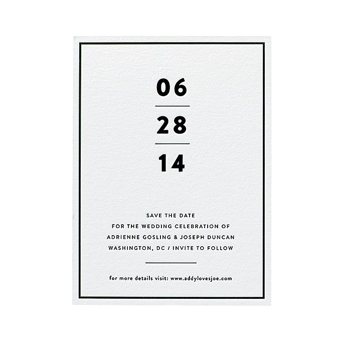 "Brides.com: What Your Save-the-Date Says About You. A Minimalist Save-the-Date Card. What it says about you: ""We like our martinis dry, straight up, and with two olives.""  You'll dig this if you're planning a modern, urban-chic affair. Two reasons: The clean black-and-white palette and the fact that it cleverly weights the most important piece of information: the date. Purists, rejoice!  Modern wedding save-the-date, from $475 for 100, Bella Figura  See more modern wedding invitations and…"