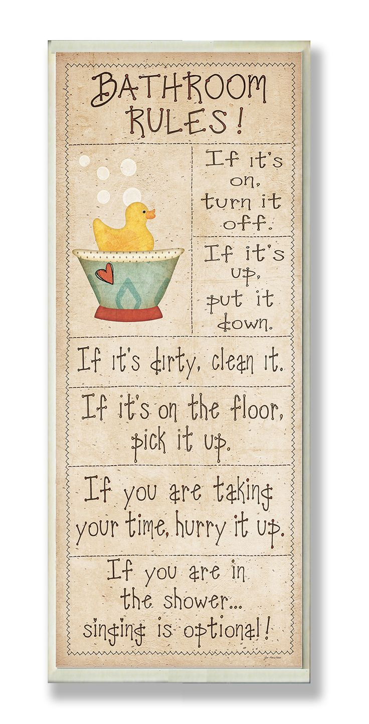 Bathroom Rules Rubber Ducky Typography Skinny Rectangle Bathroom Wall Plaque
