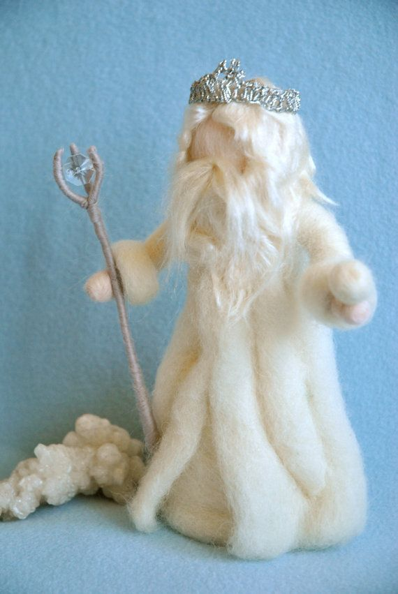 Waldorf inspired Needle felted /Standing doll: King Winter with crystal. $48.00, via Etsy.