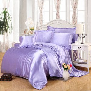Chinese solid silk smooth experience bedding sets aqua blue duvet cover linens Twin Queen King size quilt cover set