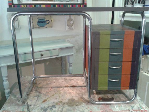 metal desk and hand decorated wood by farerifare on Etsy