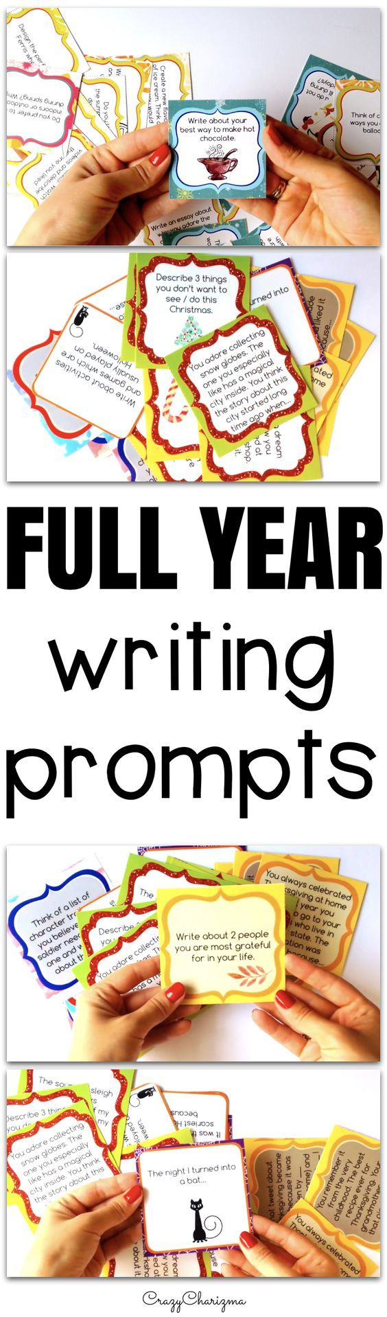 Save your time creating your own journal prompts or searching them on the internet. Use these versatile writing prompts every single day. Perfect for centers, bell ringer activities, prep for writing tests, class discussions or writing assignments at home.
