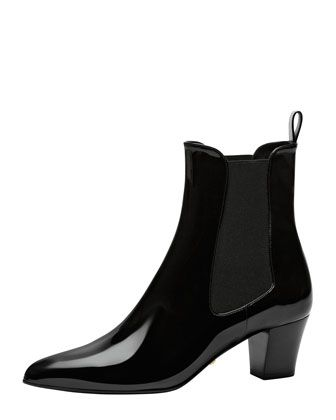 Short Boots: Patent Ankle Boot with Goring, Black by Gucci