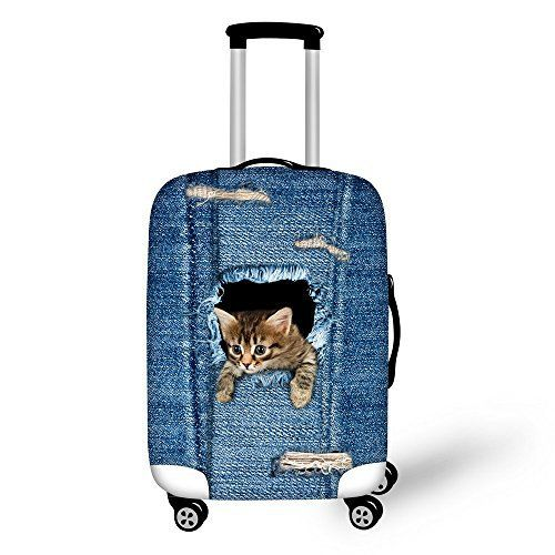 New Trending Luggage: ThiKin 18/24/28 Cute Denim Cat Print Luggage Cover Spandex Dust Proof Cover. ThiKin 18/24/28 Cute Denim Cat Print Luggage Cover Spandex Dust Proof Cover   Special Offer: $18.99      299 Reviews Welcome to ThiKin Store! Material: 85% polyester and 15% spandex Introduction: Specially equiped with elastic spandex material and zipper sealing, You can use it in school,...