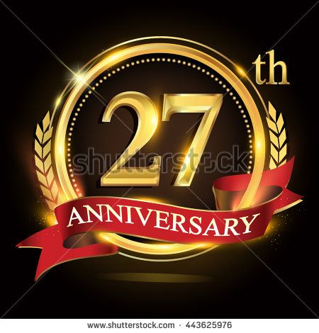27th golden anniversary logo, 27 years anniversary celebration with ring and red ribbon, Golden anniversary laurel wreath design. - stock vector