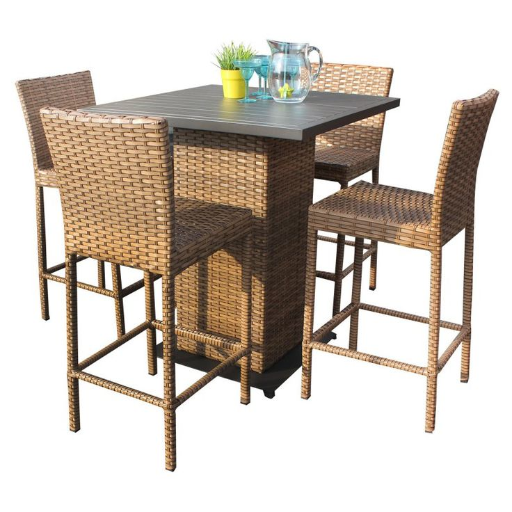 Tk Clics Laguna Wicker 5 Piece Outdoor Pub Table Set Kit