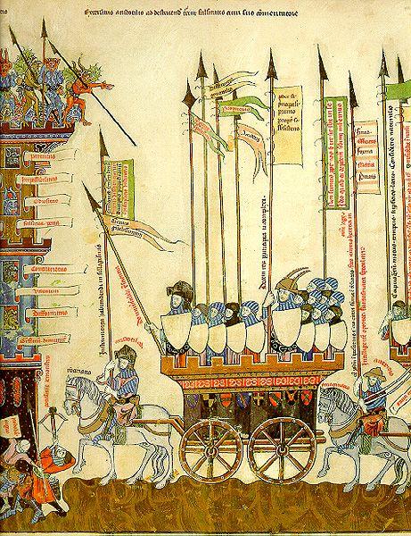 6. Aristòtil i Averrois en marxa contra la torre de la falsedat. Breviculum, 1307.
