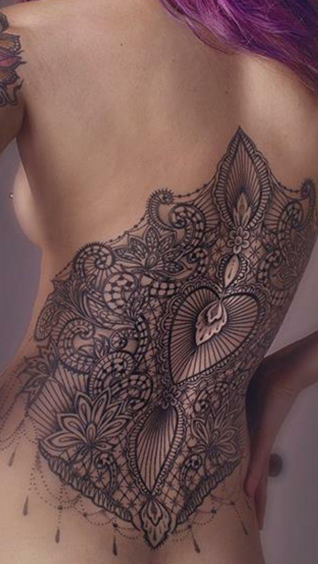 Corsetto lace pizzo bustino ornamental back piece tattoo dotwork: