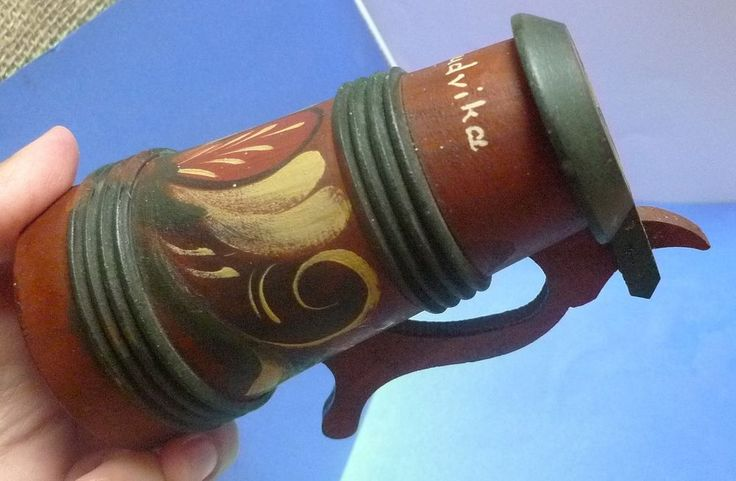 Vintage Latvia Wood Handmade Wooden Beer Cup Mug with Lid LUDVIKA signed by HD