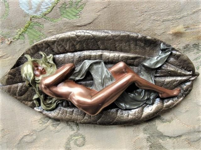 BEAUTIFUL Vintage 70s Art Nouveau Style Nude NYMPH FIGURINE On A Leaf 4 Color Bronze Giovanni Schoeman 70s Sculpture