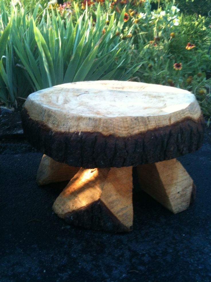This Bench Was Made From A Slice Of A Tree Trunk And Legs Added From Split Logs Wood