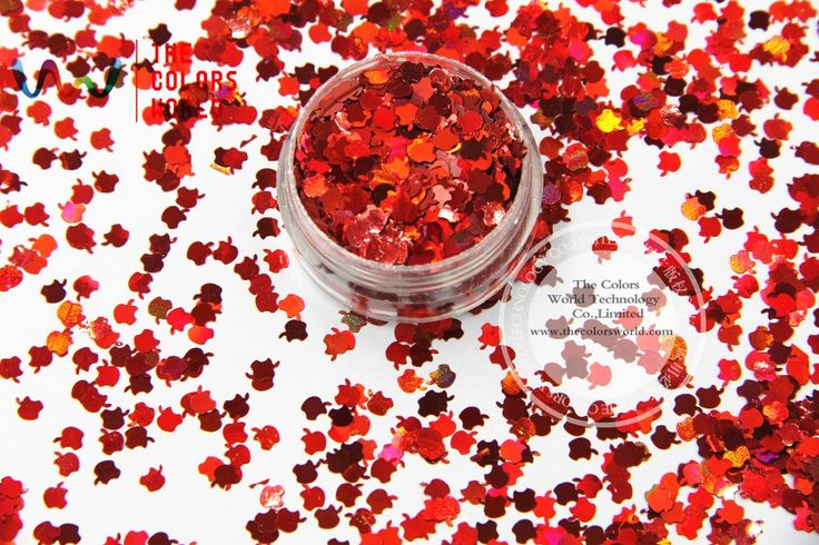 TCA300 Laser Red Color Apple Shape 3MM Size Glitter dust ,Specular luster glitter for nail,tatto,Art decoration and others