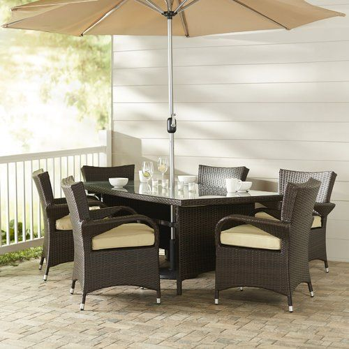 Found It At AllModern   Berke 8 Piece Patio Set With Umbrella And Cushions