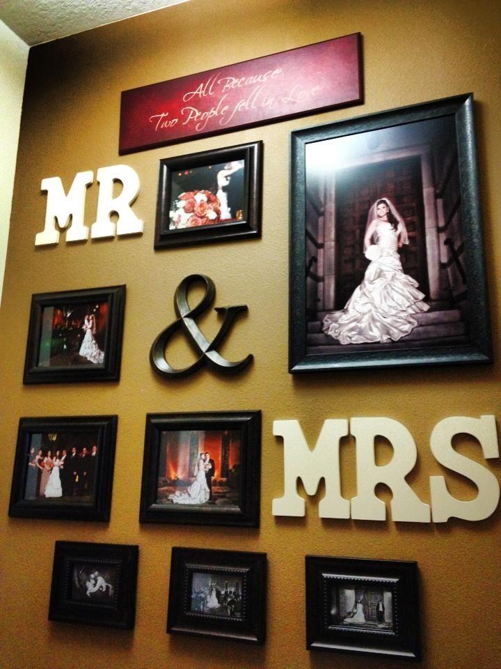 Mr mrs wall of wedding photos master bedroom ideas pinterest - Wedding wall decoration ideas ...