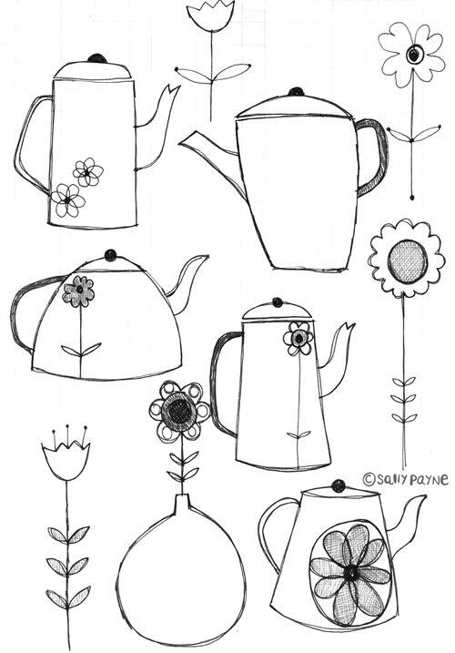 Illustration teapots