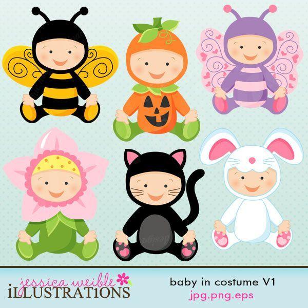 Bebê no set traje vem com 6 bebês bonitos em vários trajes incluindo: um traje da abelha do bebê, um traje da flor, um traje da abóbora, um traje do gato, uma fantasia de borboleta e um traje do coelho.