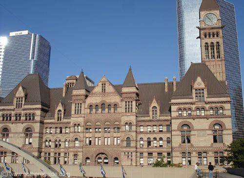 Old City Hall, Toronto, Ontario  - well-known for being haunted by the last 2 men who were sentenced to death by hanging in Canada  - footsteps are heard throughout the building  - moans are reported in the old basement cells; people report being pushed, pulled, and grabbed in this area