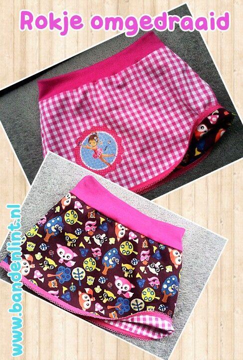 Zelfmaakidee rokje omgedraaid alle materialen incl. Patroon zijn verkrijgbaar op www.bandenlint.nl