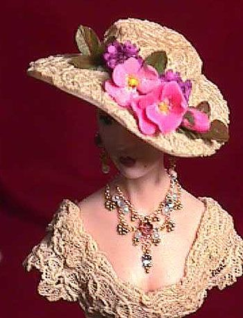 A lovely tutorial into making a hat, necklace and earrings. the instructions are very basic and don't offer a lot of detail but the pictures help in giving a general idea on how to make them.