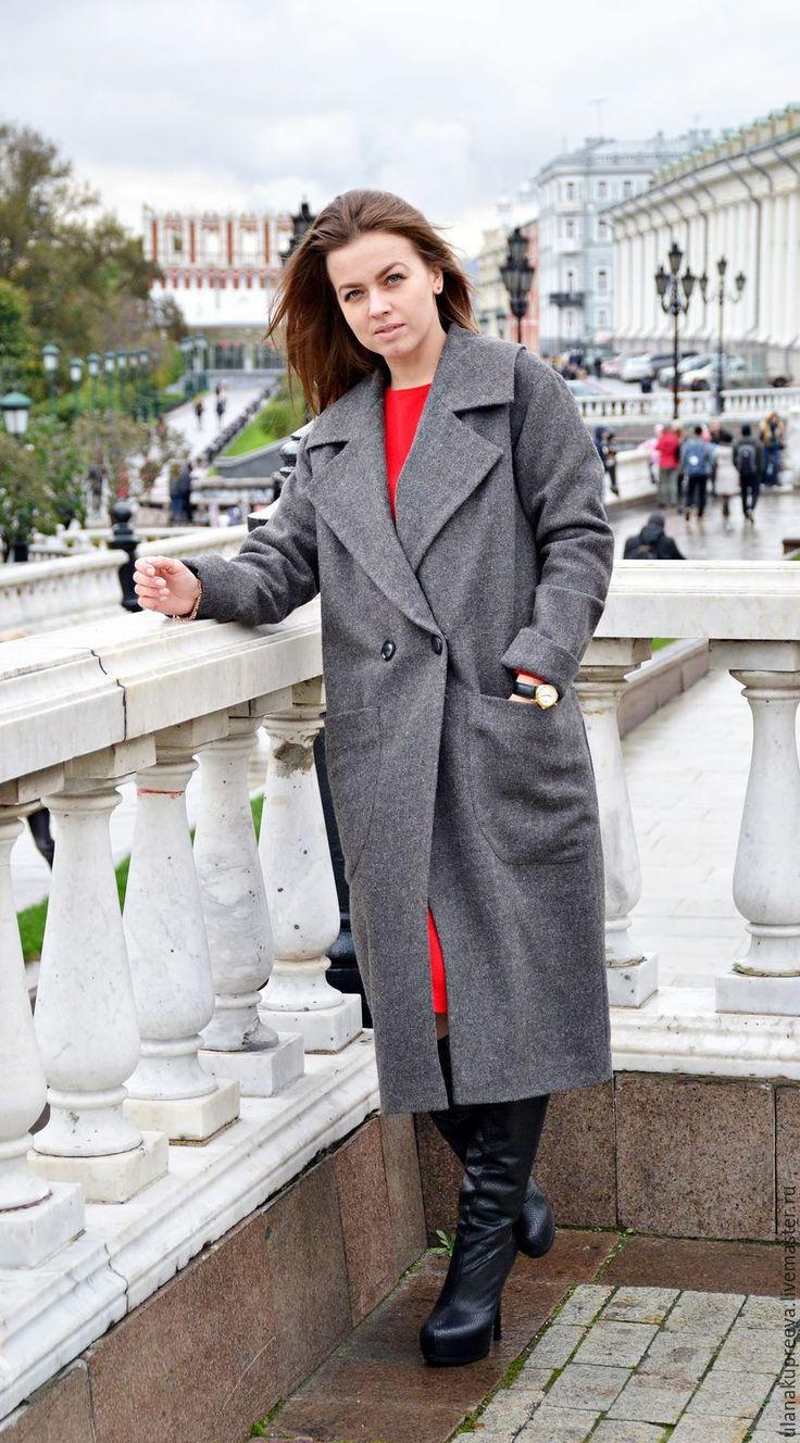 Купить Пальто из шерсти (серое) - пальто, шерстяное пальто, пальто из шерсти, Осеннее пальто
