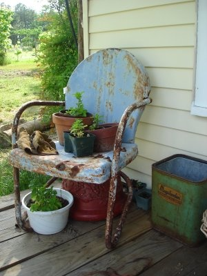 Summer on the farm: - These old metal chair, we sat on them, had birthdays, get togethers, most of the chairs were these type. G & G's were white.