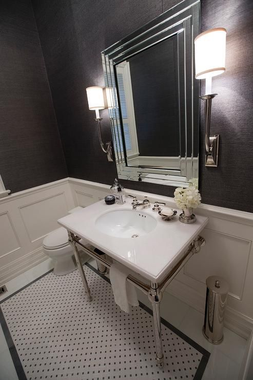 Jennifer Backstein Interiors - bathrooms - Charcoal grey, white, contemporary, powder room, charcoal grey and silver grasscloth wallpaper, white marble counter top, polished nickel vanity base, polished nickel wall sconces, charcoal grey and white mosaic marble tile, gray bathrooms, charcoal gray bathrooms