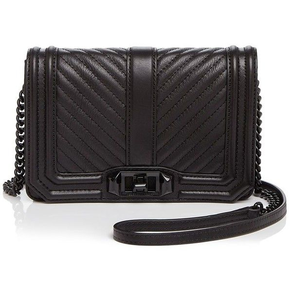Rebecca Minkoff Love Small Chevron Quilt Crossbody ($205) ❤ liked on Polyvore featuring bags, handbags, shoulder bags, black, rebecca minkoff purse, quilted leather handbags, crossbody purses, chevron print purse and chevron crossbody purse