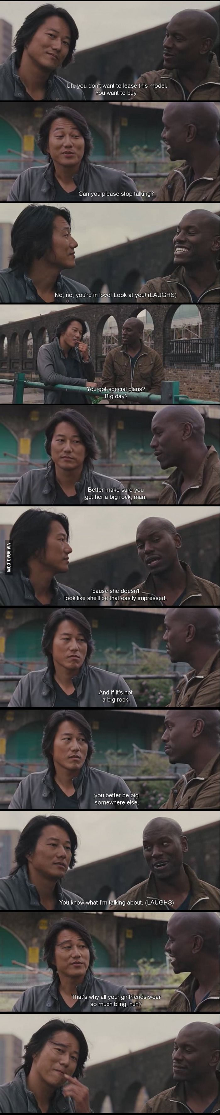 Fast and Furious. love this movie! I about died laughing at this part! Roman just cracks me up!