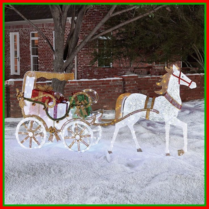 Pre Lit Lighted Christmas Horse Carriage Holiday Outdoor