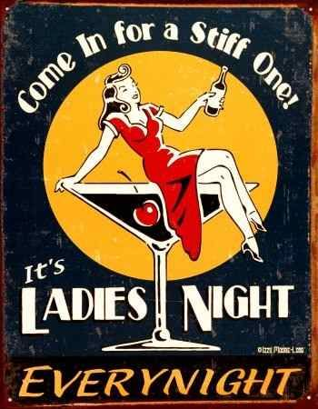 cartel chapa letrero retro vintage ladies night everynight