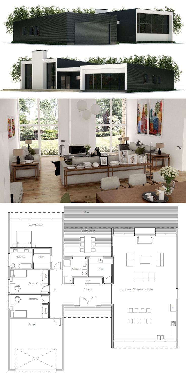 Small House Plan - swap living and kitchen around add island bench for definition. Utility becomes pantry,  bed 2 becomes laundry.  Plumbing still good.