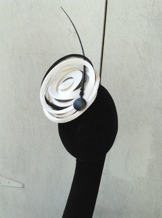 "Fascinator- Headpiece - Hat-  Braid-  Black/White/Off White - ""Chris"" -  Kentucky Derby- Wedding - Church-Women's Headwear- Millinery"