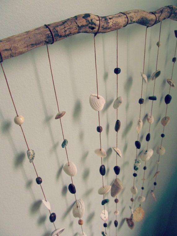 Natural Shell Mobile Eco Home Decor Wall Hanging Seashell Mobiledriftwood Ideasseashell Craftseco