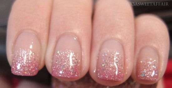 NOTW: Pink ombre glitter nails