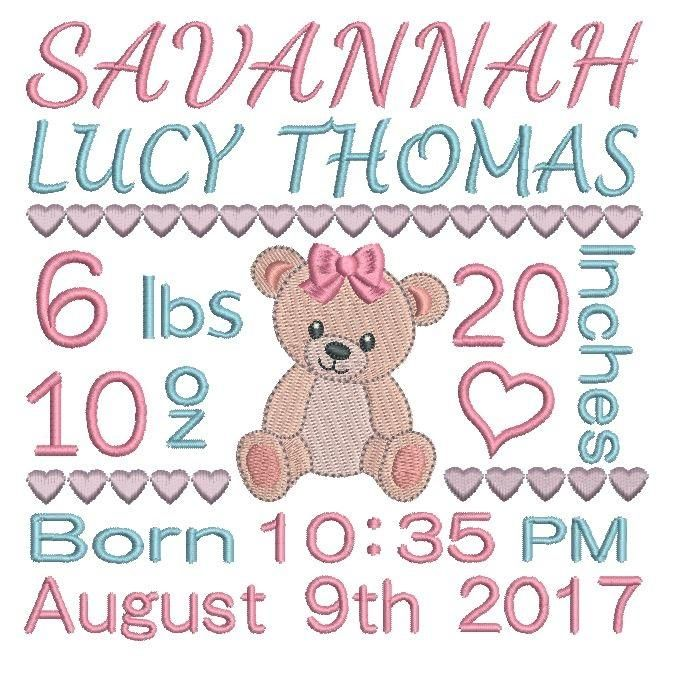 This is a baby birth announcement template machine embroidery design featuring a cute little teddy bear. 3 sizes included with your purchase - 4x4, 5x7, 6x10.