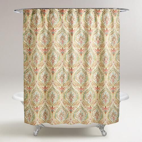 One of my favorite discoveries at WorldMarket.com: Watercolor Ogee Shower Curtain