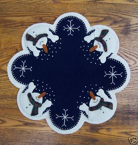 "*Let It Snow!"" Wool Penny Rug Candle Mat"