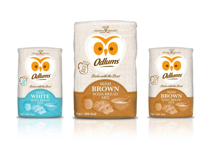 Odlums Brown and White Soda Bread Mixes, Packaging by Mesh Design.