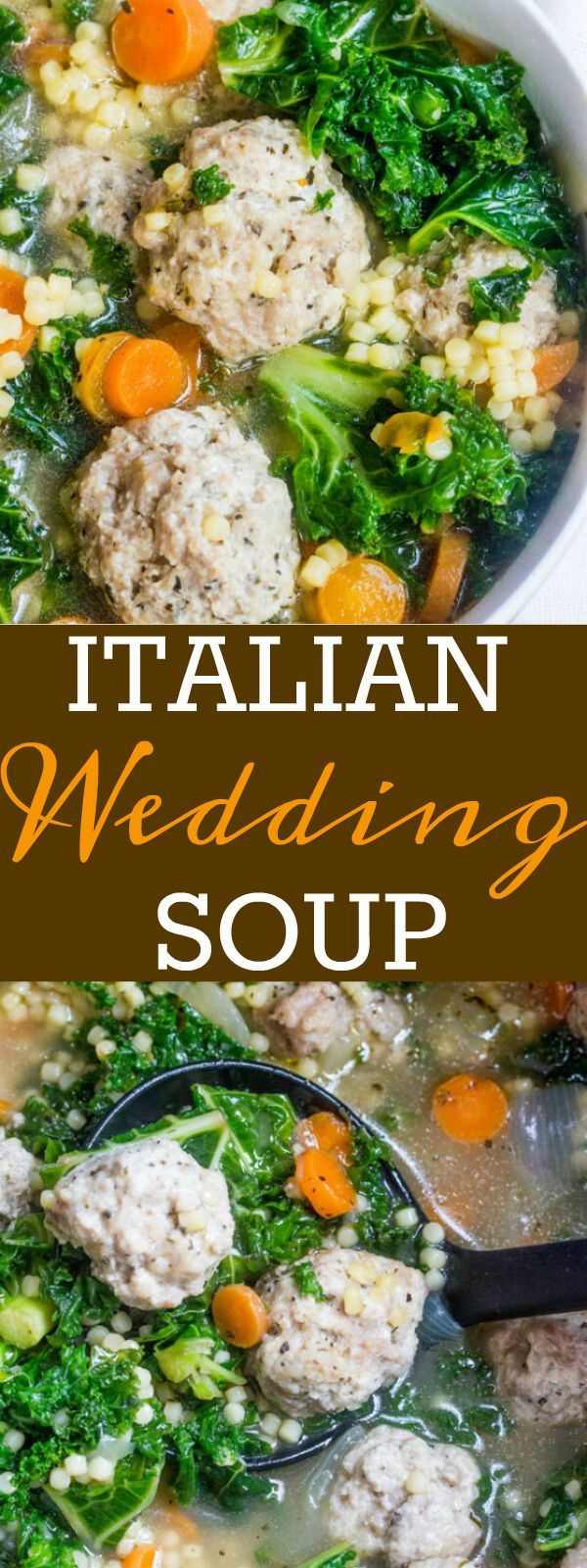 Full of veggies, meatballs and pasta this Italian Wedding Soup is a comforting, delicious dinner that is perfect for any night of the week!
