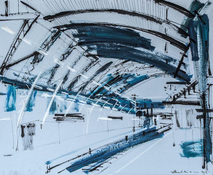 Frankfurt Station II  acrilico e inchiostro su carta  cm 50x60  di Helen Shulkin  Nuove interessantissime opere sul tema della città e del paesaggio urbano.  #arte #artecontemporanea #paesaggi #arredare #arredamento #ideeregalo #regalare #arte