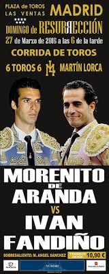 ticketstoros.com: Cartel mano a mano Morenito y Fandiño 20 marzo 201...
